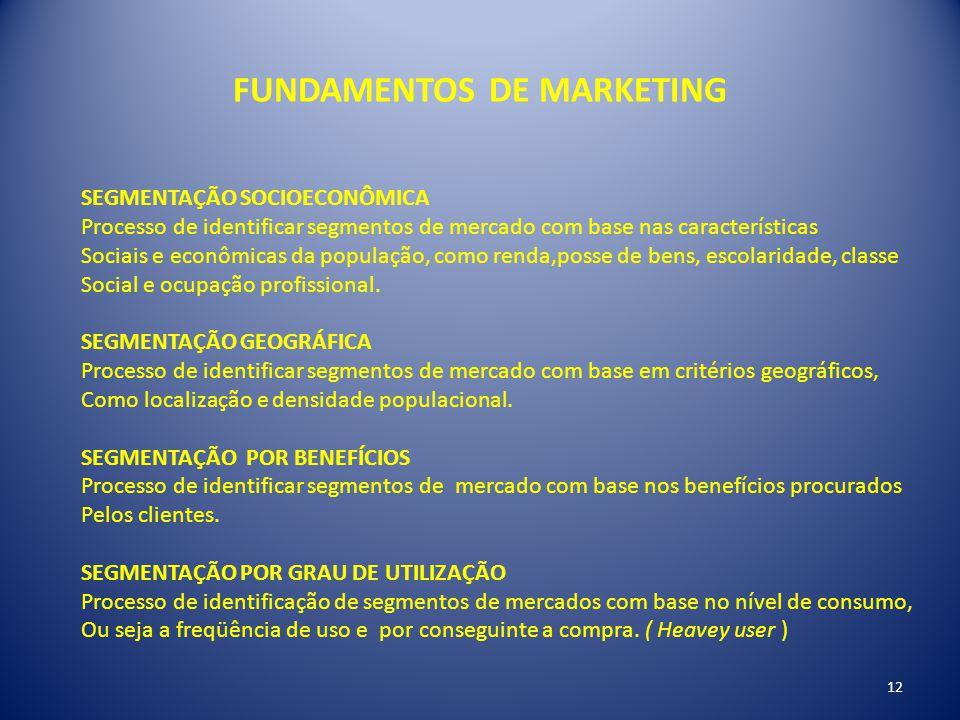 FUNDAMENTOS DE MARKETING SEGMENTAÇÃO SOCIOECONÔMICA Processo de identificar segmentos de mercado com base nas características Sociais e econômicas da