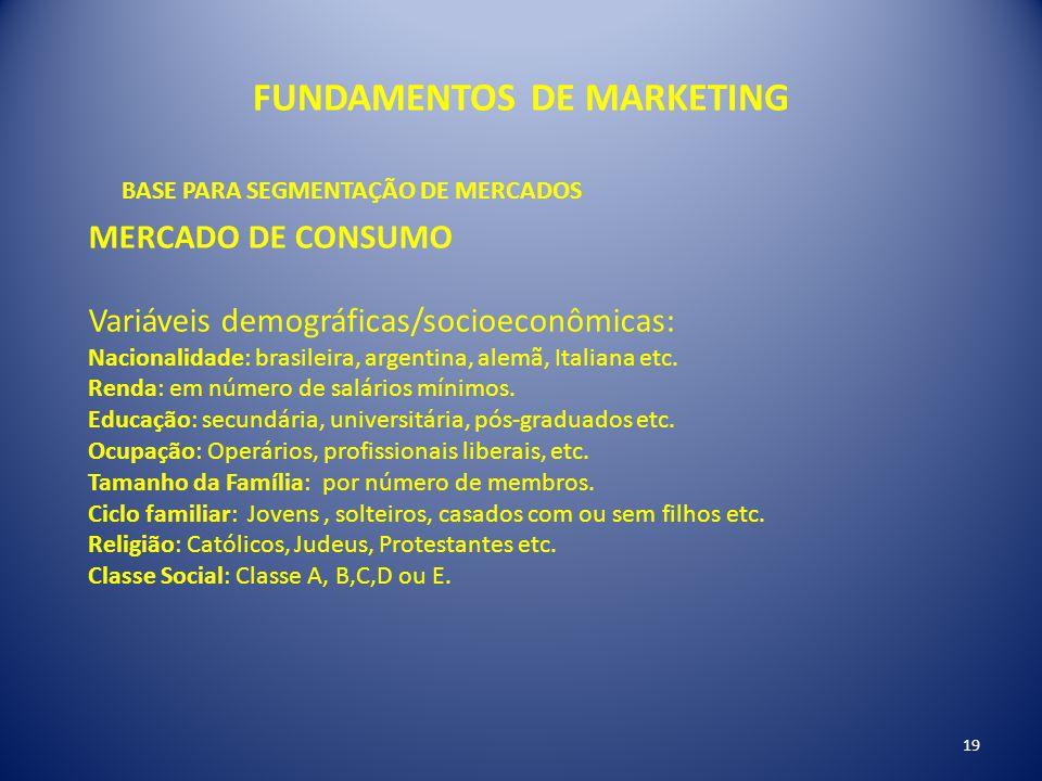 FUNDAMENTOS DE MARKETING 19 BASE PARA SEGMENTAÇÃO DE MERCADOS MERCADO DE CONSUMO Variáveis demográficas/socioeconômicas: Nacionalidade: brasileira, ar