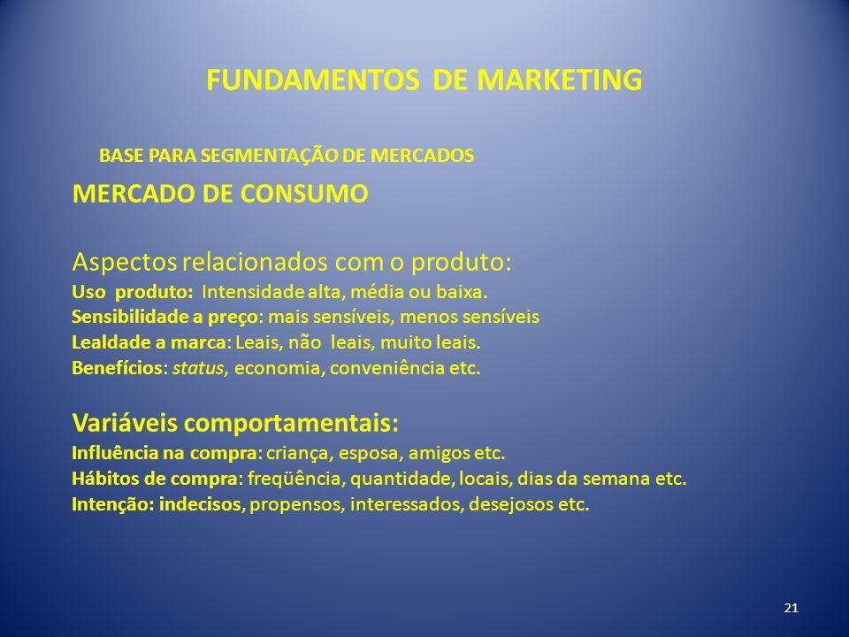 FUNDAMENTOS DE MARKETING 21 BASE PARA SEGMENTAÇÃO DE MERCADOS MERCADO DE CONSUMO Aspectos relacionados com o produto: Uso produto: Intensidade alta, m