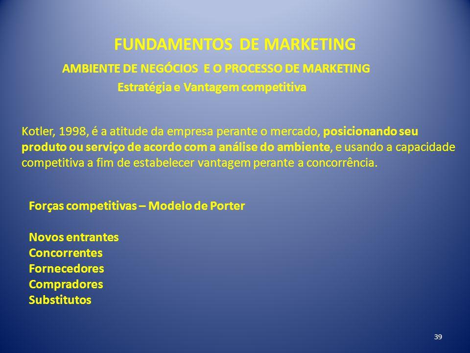 FUNDAMENTOS DE MARKETING 39 AMBIENTE DE NEGÓCIOS E O PROCESSO DE MARKETING Estratégia e Vantagem competitiva Kotler, 1998, é a atitude da empresa pera