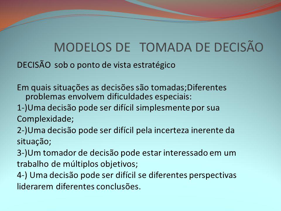 MODELOS DE TOMADA DE DECISÃO DECISÃO sob o ponto de vista estratégico Em quais situações as decisões são tomadas;Diferentes problemas envolvem dificul