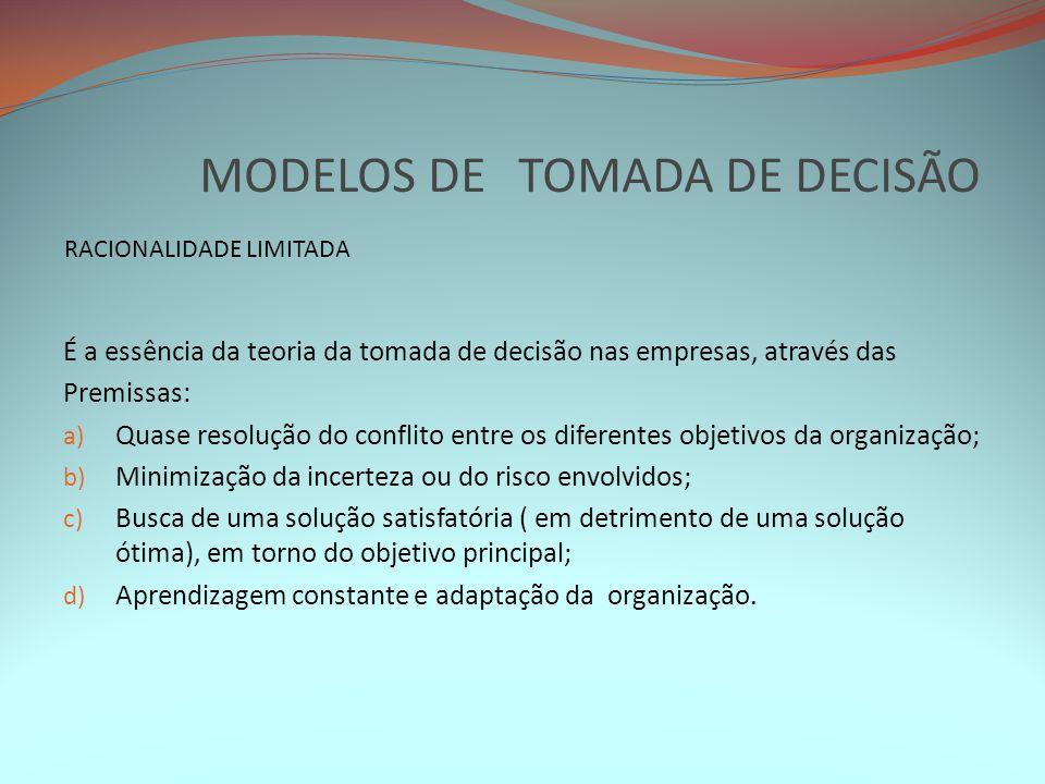 MODELOS DE TOMADA DE DECISÃO É a essência da teoria da tomada de decisão nas empresas, através das Premissas: a) Quase resolução do conflito entre os