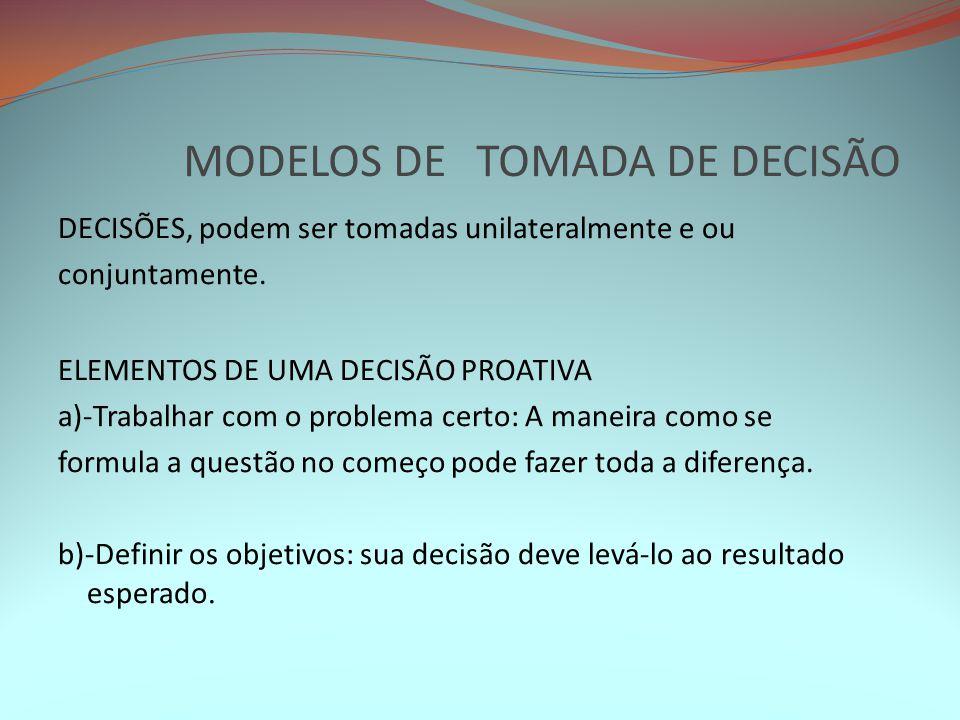 MODELOS DE TOMADA DE DECISÃO DECISÕES, podem ser tomadas unilateralmente e ou conjuntamente. ELEMENTOS DE UMA DECISÃO PROATIVA a)-Trabalhar com o prob