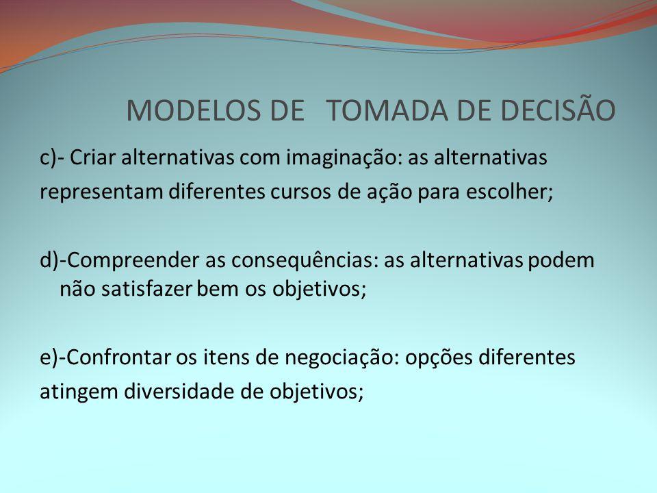 MODELOS DE TOMADA DE DECISÃO c)- Criar alternativas com imaginação: as alternativas representam diferentes cursos de ação para escolher; d)-Compreende