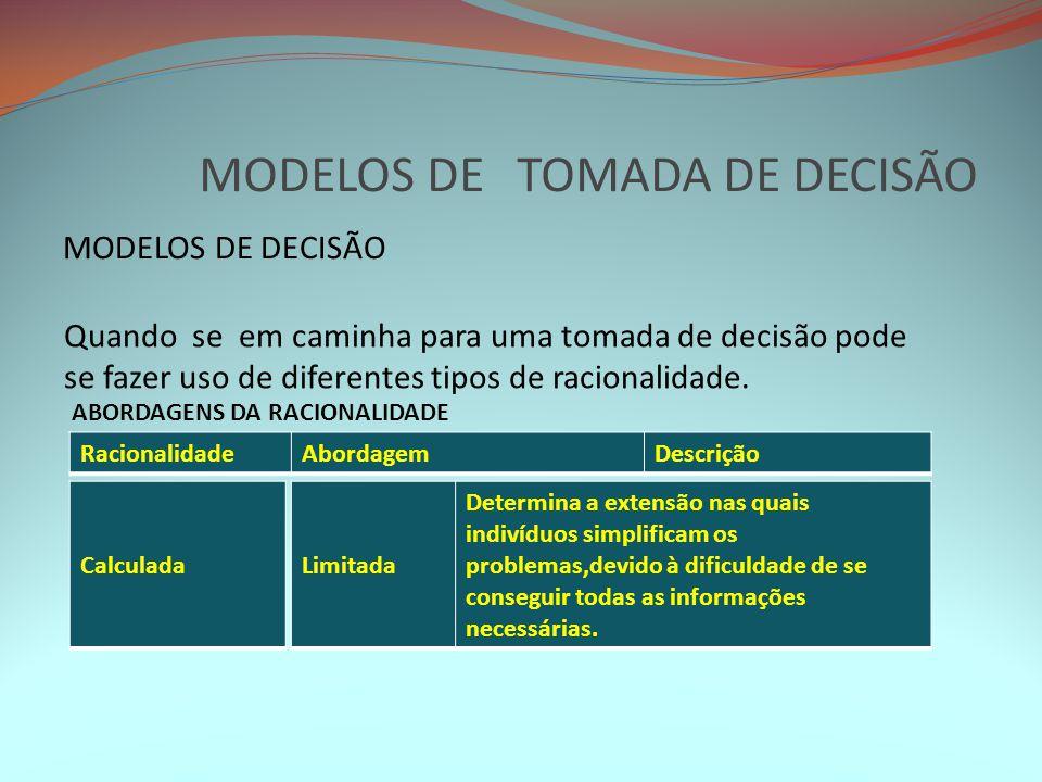 MODELOS DE TOMADA DE DECISÃO MODELOS DE DECISÃO Quando se em caminha para uma tomada de decisão pode se fazer uso de diferentes tipos de racionalidade