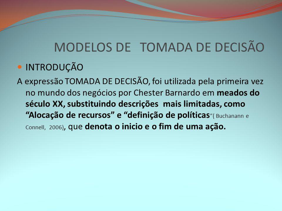MODELOS DE TOMADA DE DECISÃO INTRODUÇÃO A expressão TOMADA DE DECISÃO, foi utilizada pela primeira vez no mundo dos negócios por Chester Barnardo em m