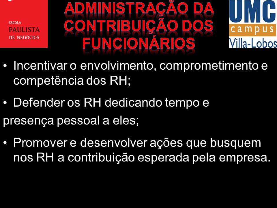 Incentivar o envolvimento, comprometimento e competência dos RH;Incentivar o envolvimento, comprometimento e competência dos RH; Defender os RH dedica
