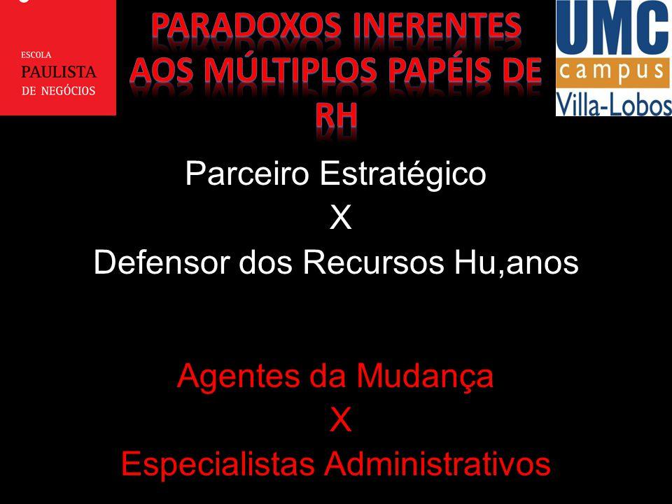 Parceiro Estratégico X Defensor dos Recursos Hu,anos Agentes da Mudança X Especialistas Administrativos