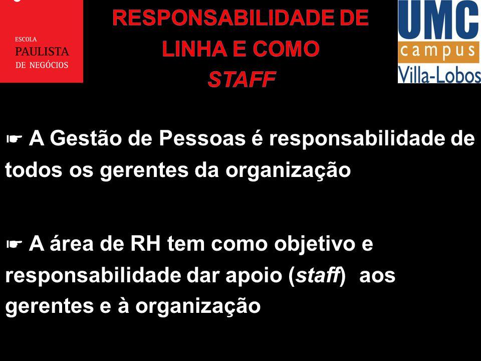A Gestão de Pessoas é responsabilidade de todos os gerentes da organização A área de RH tem como objetivo e responsabilidade dar apoio (staff) aos ger