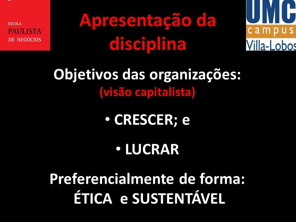 Objetivos das organizações: (visão capitalista) CRESCER; e LUCRAR Preferencialmente de forma: ÉTICA e SUSTENTÁVEL Apresentação da disciplina