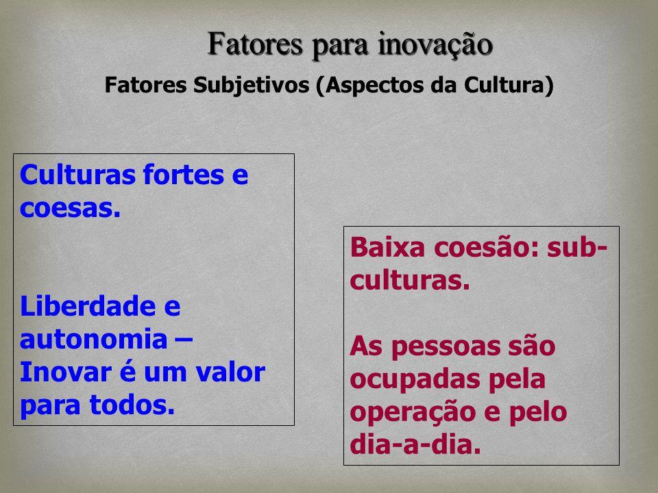 Fatores Subjetivos (Aspectos da Cultura) Culturas fortes e coesas. Liberdade e autonomia – Inovar é um valor para todos. Baixa coesão: sub- culturas.