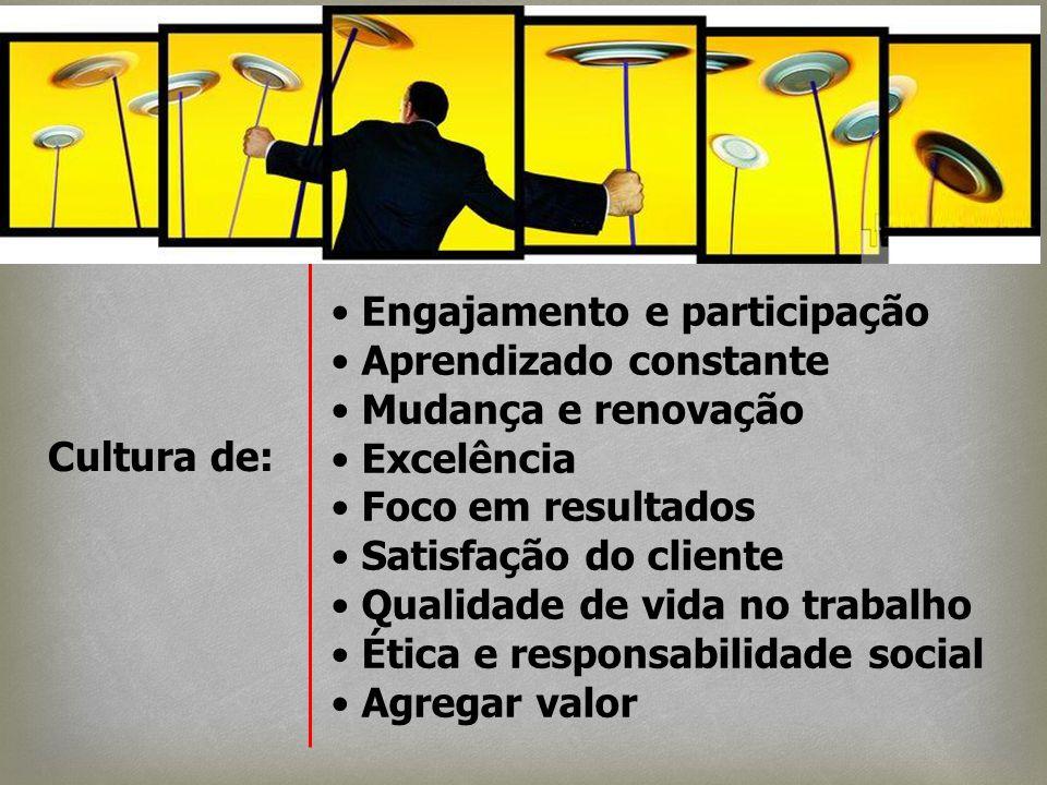 Engajamento e participação Aprendizado constante Mudança e renovação Excelência Foco em resultados Satisfação do cliente Qualidade de vida no trabalho