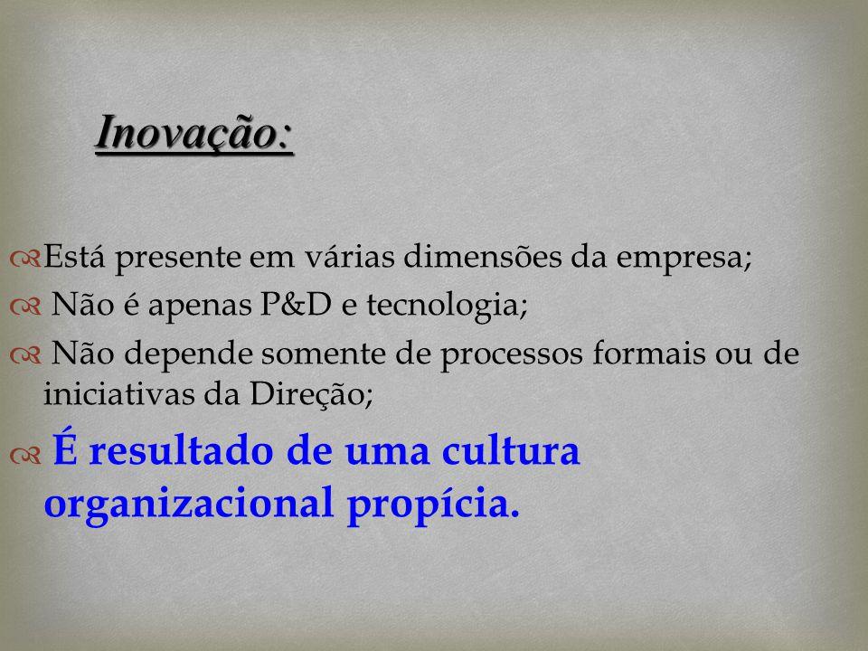 Está presente em várias dimensões da empresa; Não é apenas P&D e tecnologia; Não depende somente de processos formais ou de iniciativas da Direção; É
