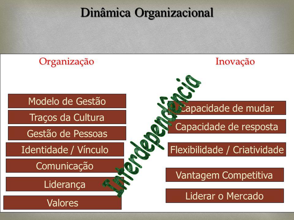 Organização Inovação Modelo de Gestão Traços da Cultura Liderança Identidade / Vínculo Comunicação Capacidade de mudar Valores Gestão de Pessoas Capac