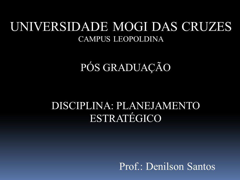 UNIVERSIDADE MOGI DAS CRUZES CAMPUS LEOPOLDINA PÓS GRADUAÇÃO DISCIPLINA: PLANEJAMENTO ESTRATÉGICO Prof.: Denilson Santos