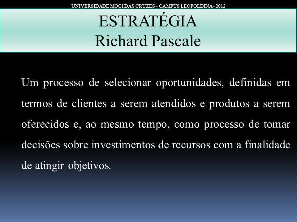 UNIVERSIDADE MOGI DAS CRUZES – CAMPUS LEOPOLDINA - 2012 ESTRATÉGIA Richard Pascale Um processo de selecionar oportunidades, definidas em termos de cli
