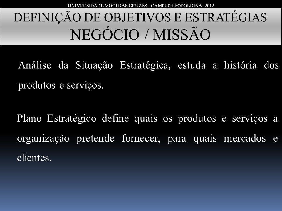 UNIVERSIDADE MOGI DAS CRUZES – CAMPUS LEOPOLDINA - 2012 DEFINIÇÃO DE OBJETIVOS E ESTRATÉGIAS NEGÓCIO / MISSÃO Análise da Situação Estratégica, estuda