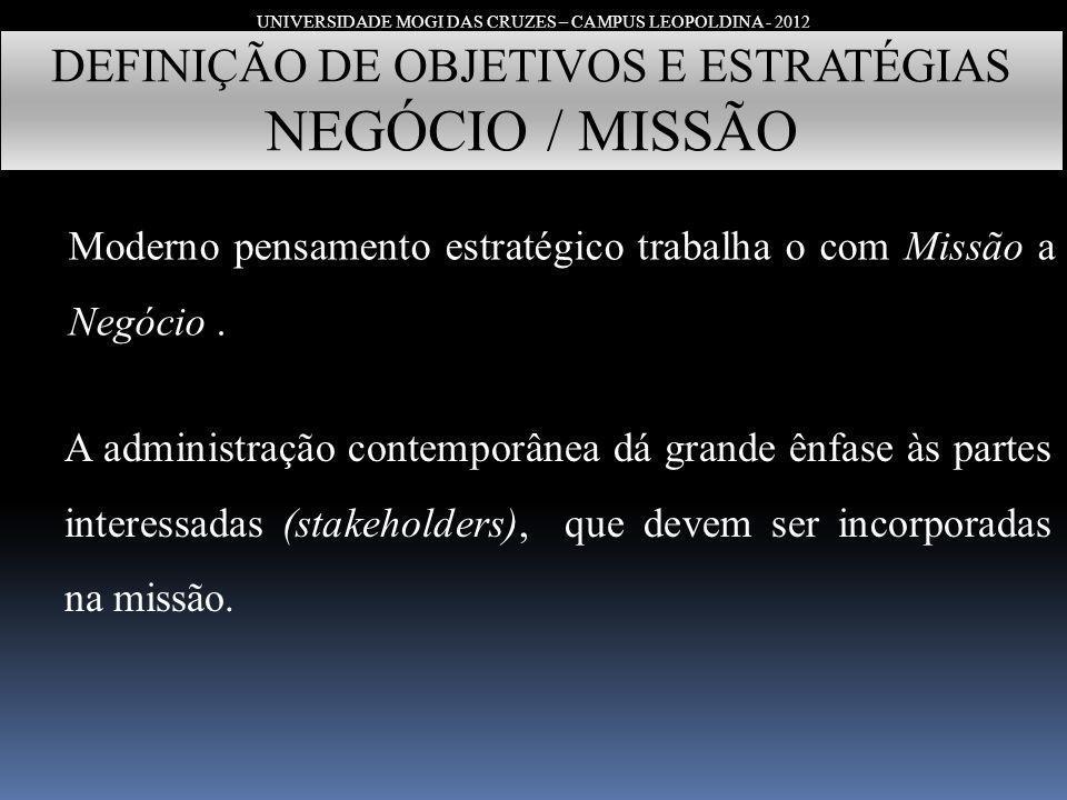 UNIVERSIDADE MOGI DAS CRUZES – CAMPUS LEOPOLDINA - 2012 DEFINIÇÃO DE OBJETIVOS E ESTRATÉGIAS NEGÓCIO / MISSÃO Moderno pensamento estratégico trabalha
