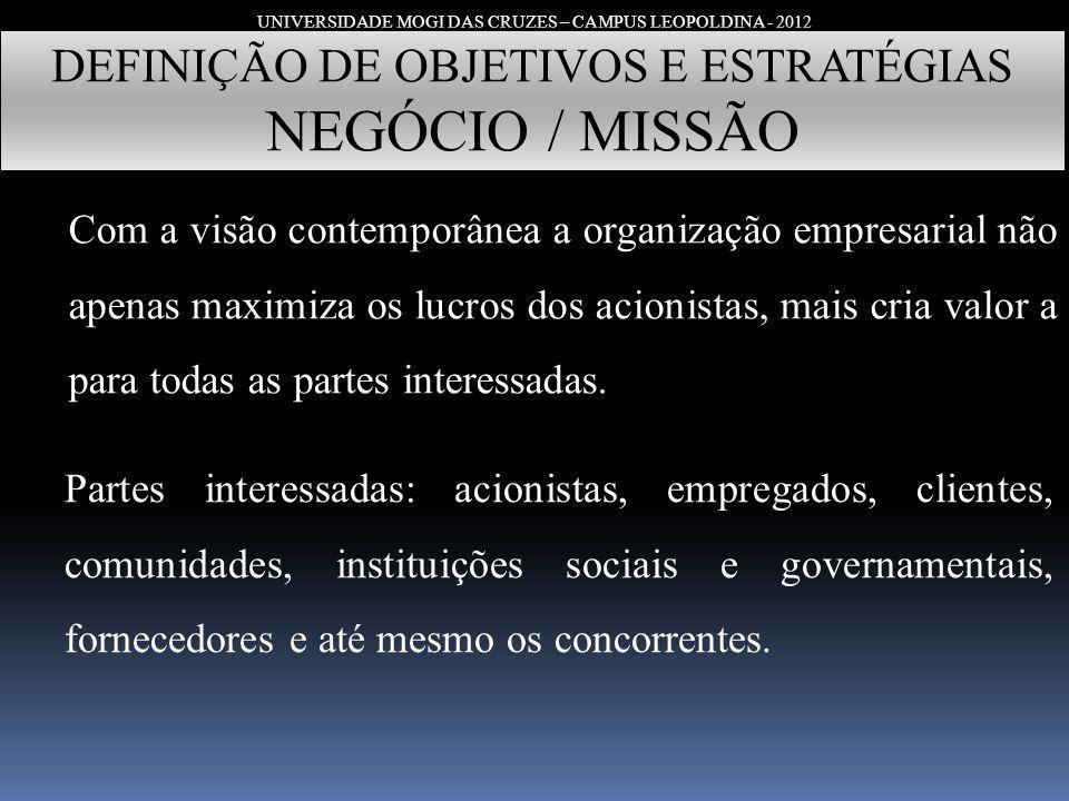UNIVERSIDADE MOGI DAS CRUZES – CAMPUS LEOPOLDINA - 2012 DEFINIÇÃO DE OBJETIVOS E ESTRATÉGIAS NEGÓCIO / MISSÃO Com a visão contemporânea a organização