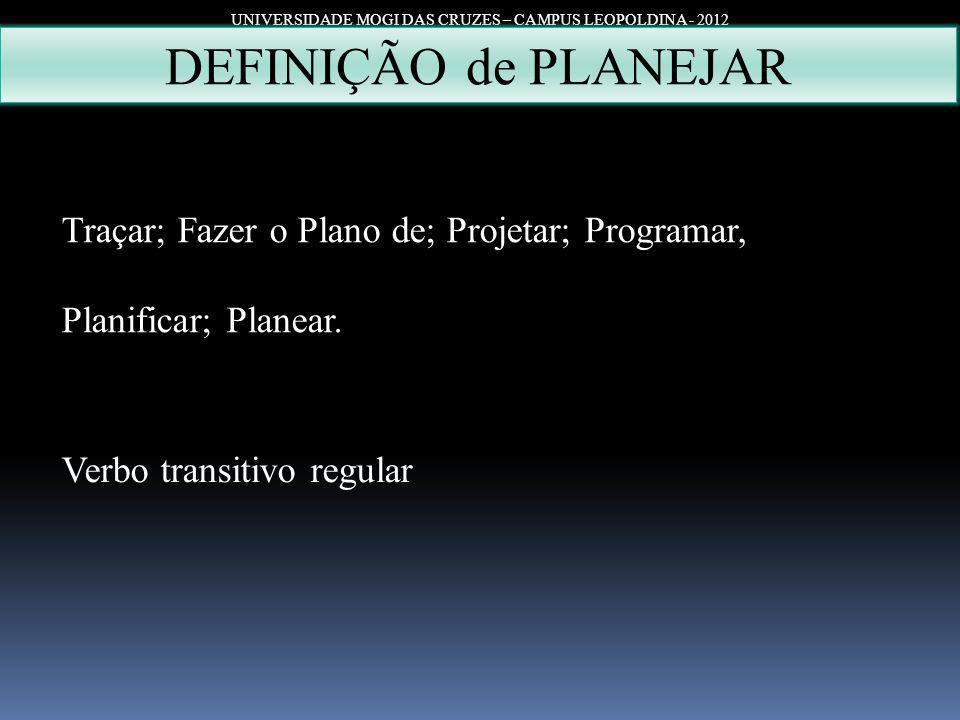 UNIVERSIDADE MOGI DAS CRUZES – CAMPUS LEOPOLDINA - 2012 DEFINIÇÃO de PLANEJAR Traçar; Fazer o Plano de; Projetar; Programar, Planificar; Planear. Verb