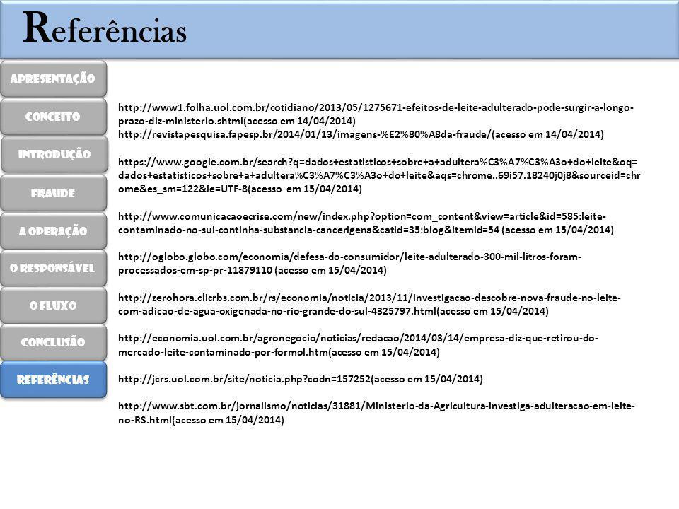R eferências http://www1.folha.uol.com.br/cotidiano/2013/05/1275671-efeitos-de-leite-adulterado-pode-surgir-a-longo- prazo-diz-ministerio.shtml(acesso