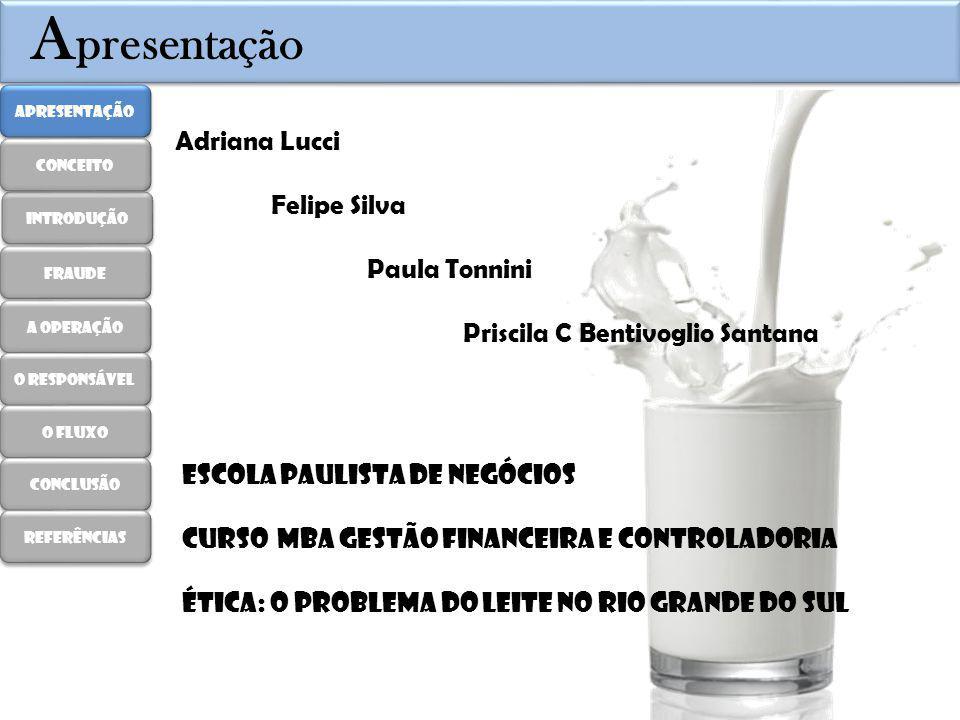 A presentação Escola Paulista de Negócios Curso MBA Gestão Financeira e Controladoria Ética: O problema do leite no rio grande do sul Adriana Lucci Fe