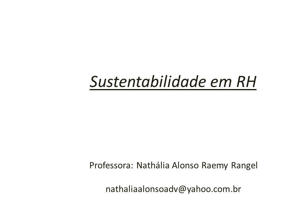 Sustentabilidade em RH Professora: Nathália Alonso Raemy Rangel nathaliaalonsoadv@yahoo.com.br