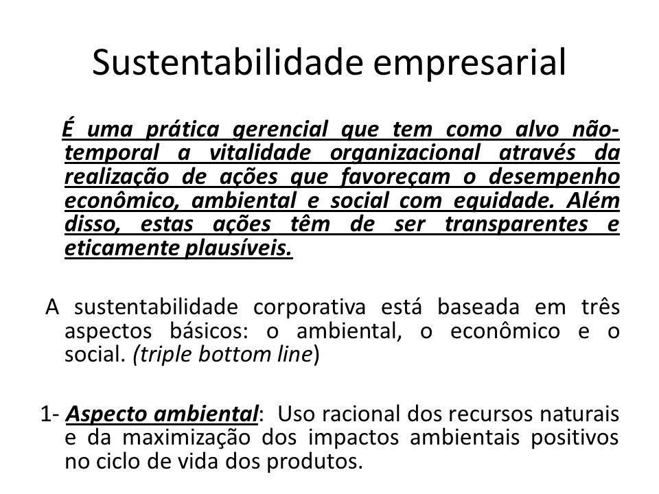 Sustentabilidade empresarial É uma prática gerencial que tem como alvo não- temporal a vitalidade organizacional através da realização de ações que fa