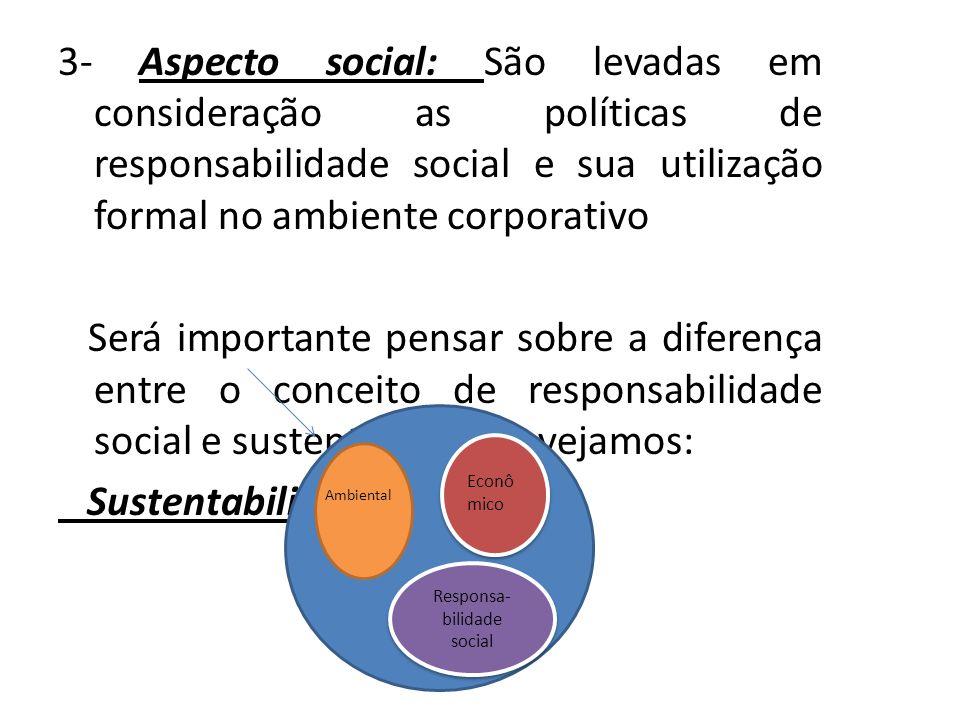 3- Aspecto social: São levadas em consideração as políticas de responsabilidade social e sua utilização formal no ambiente corporativo Será importante