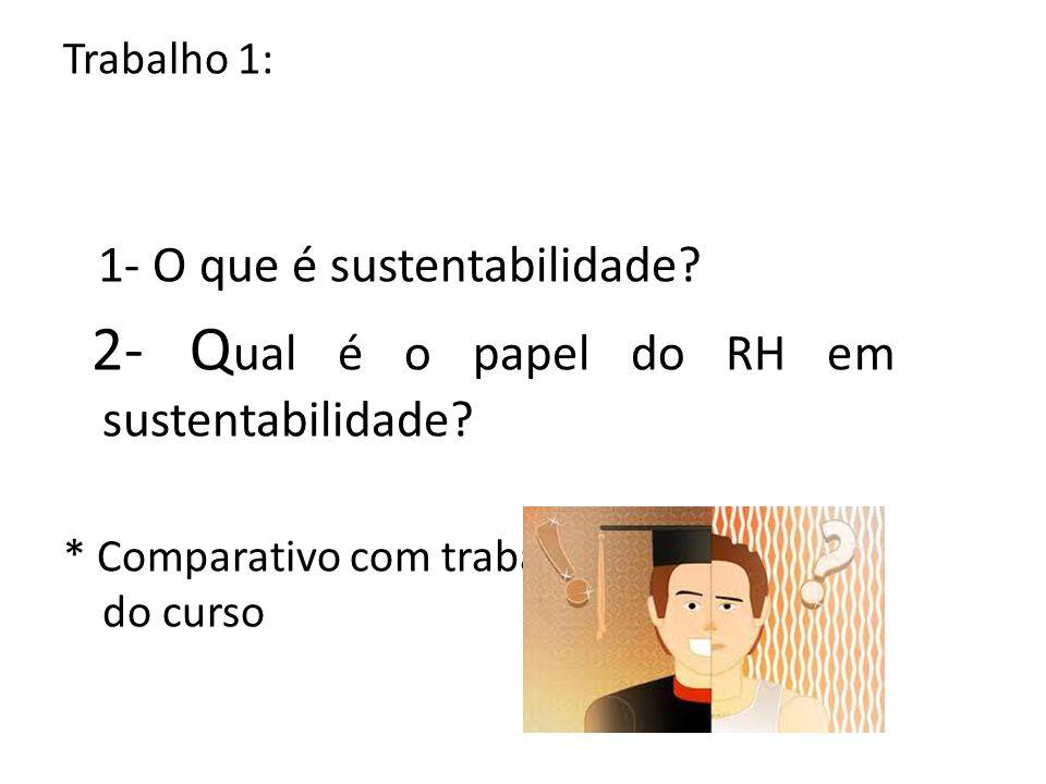 Trabalho 1: 1- O que é sustentabilidade? 2- Q ual é o papel do RH em sustentabilidade? * Comparativo com trabalho da última aula do curso