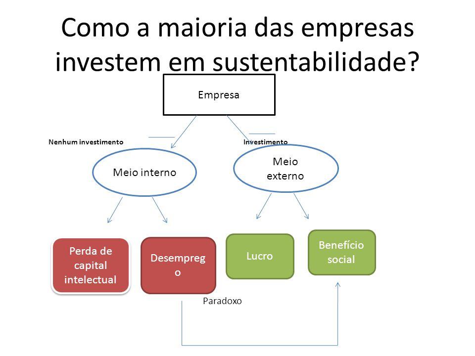 Como a maioria das empresas investem em sustentabilidade? Nenhum investimento Investimento Paradoxo Empresa Meio interno Meio externo Perda de capital