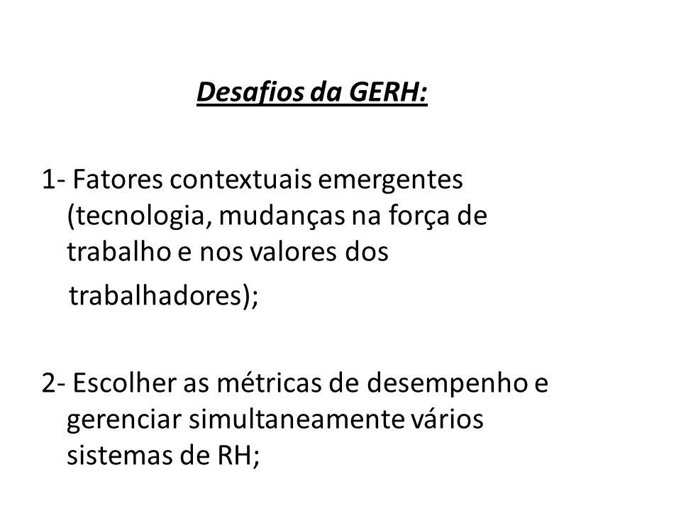 Desafios da GERH: 1- Fatores contextuais emergentes (tecnologia, mudanças na força de trabalho e nos valores dos trabalhadores); 2- Escolher as métric