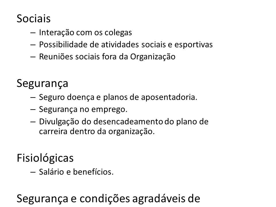 Sociais – Interação com os colegas – Possibilidade de atividades sociais e esportivas – Reuniões sociais fora da Organização Segurança – Seguro doença
