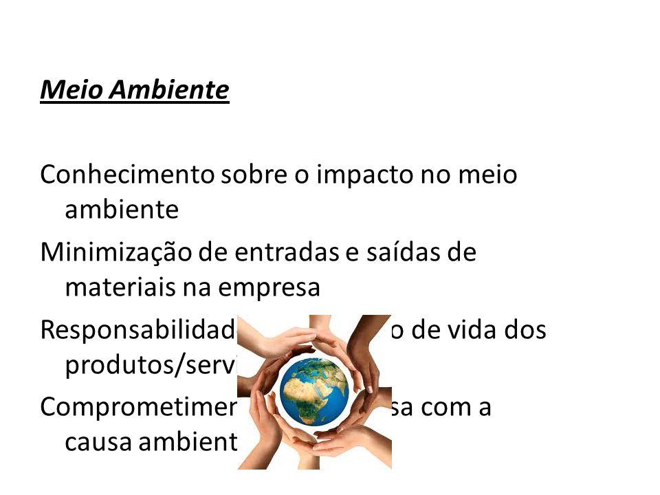 Meio Ambiente Conhecimento sobre o impacto no meio ambiente Minimização de entradas e saídas de materiais na empresa Responsabilidade sobre o ciclo de