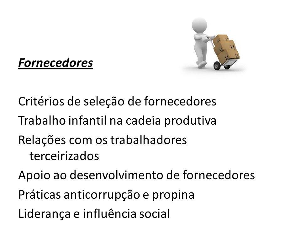 Fornecedores Critérios de seleção de fornecedores Trabalho infantil na cadeia produtiva Relações com os trabalhadores terceirizados Apoio ao desenvolv