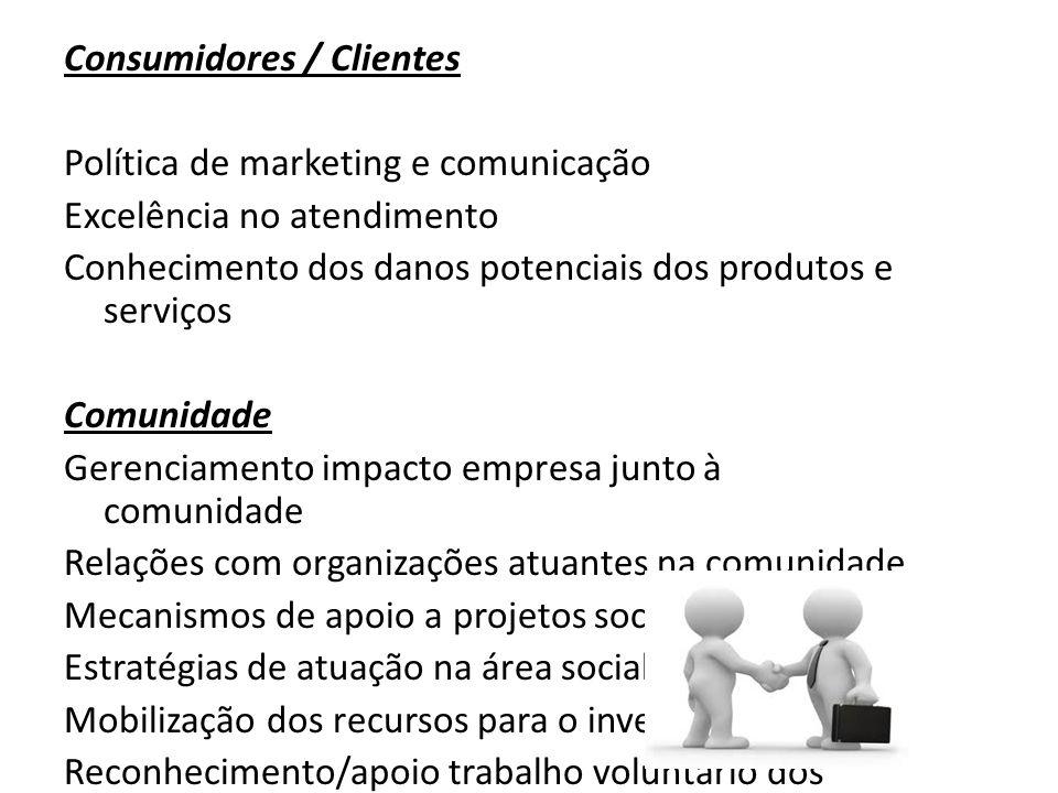 Consumidores / Clientes Política de marketing e comunicação Excelência no atendimento Conhecimento dos danos potenciais dos produtos e serviços Comuni