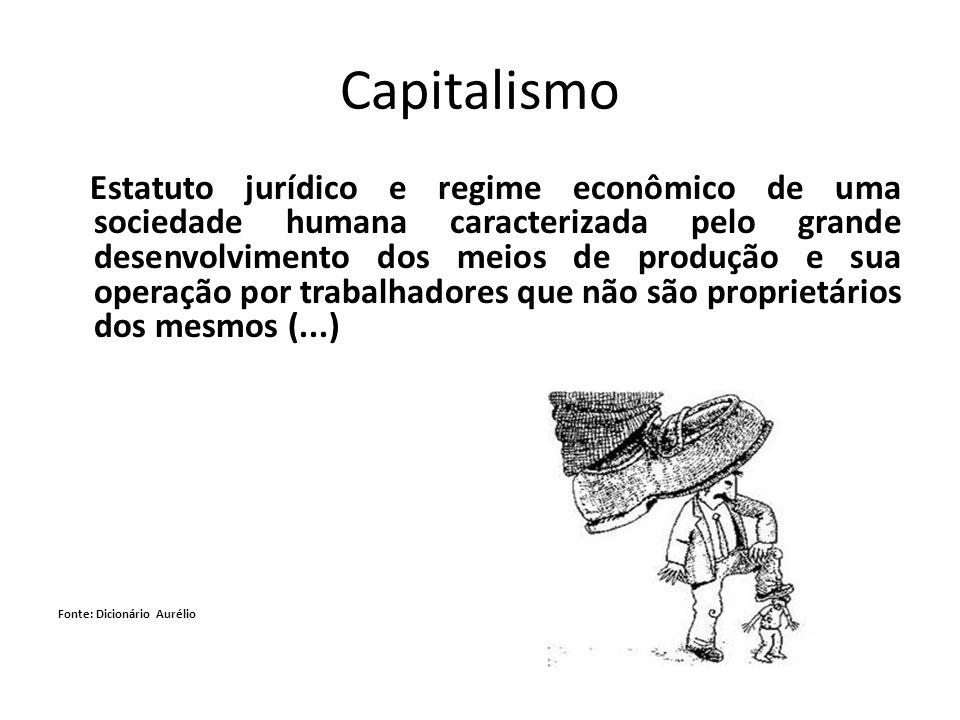 Capitalismo Estatuto jurídico e regime econômico de uma sociedade humana caracterizada pelo grande desenvolvimento dos meios de produção e sua operaçã