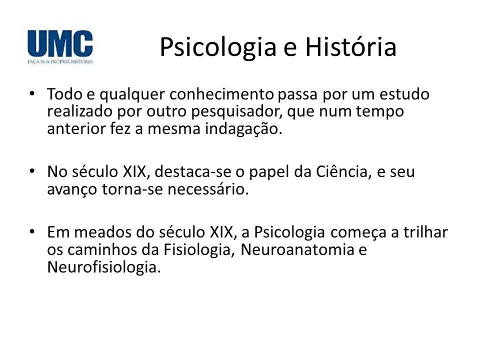 Psicologia e História Todo e qualquer conhecimento passa por um estudo realizado por outro pesquisador, que num tempo anterior fez a mesma indagação.