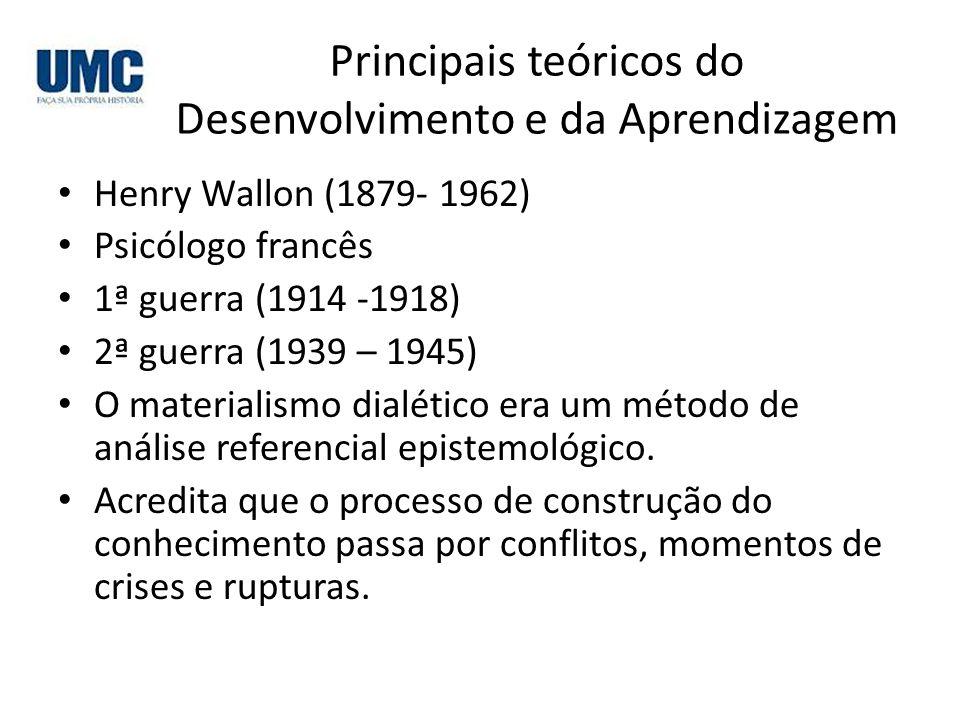 Principais teóricos do Desenvolvimento e da Aprendizagem Henry Wallon (1879- 1962) Psicólogo francês 1ª guerra (1914 -1918) 2ª guerra (1939 – 1945) O