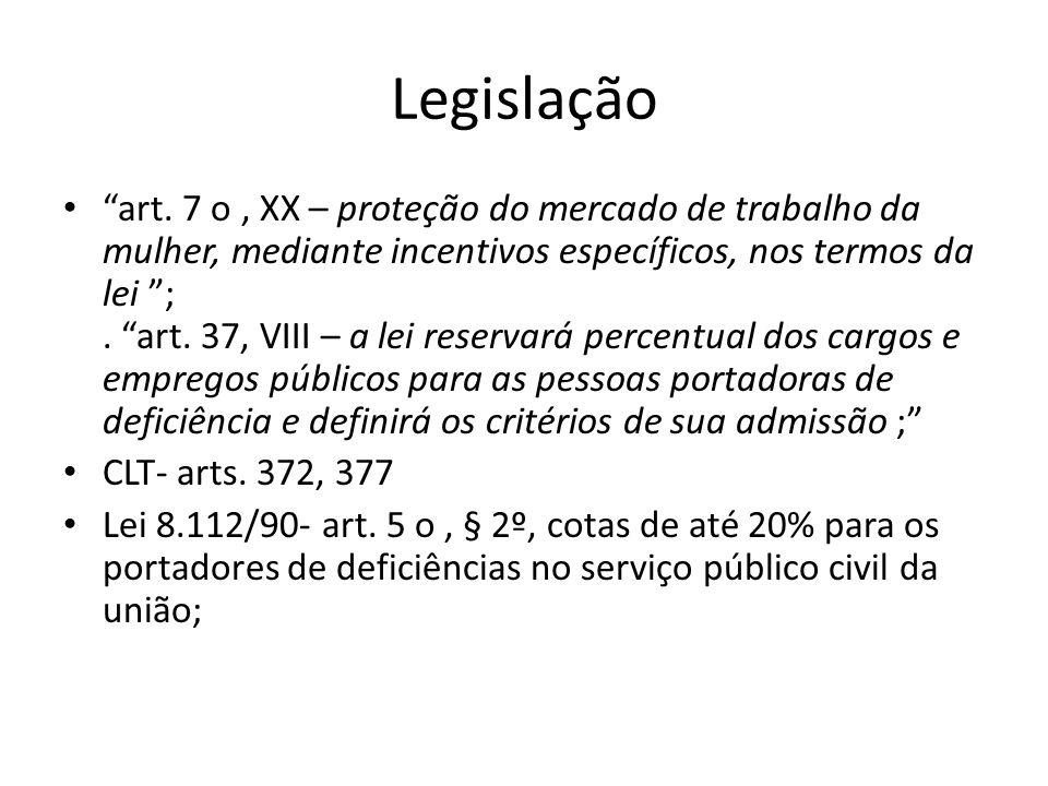 Legislação art. 7 o, XX – proteção do mercado de trabalho da mulher, mediante incentivos específicos, nos termos da lei ;. art. 37, VIII – a lei reser