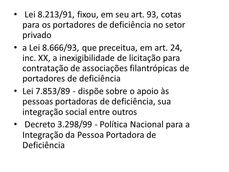 Lei 8.213/91, fixou, em seu art. 93, cotas para os portadores de deficiência no setor privado a Lei 8.666/93, que preceitua, em art. 24, inc. XX, a in