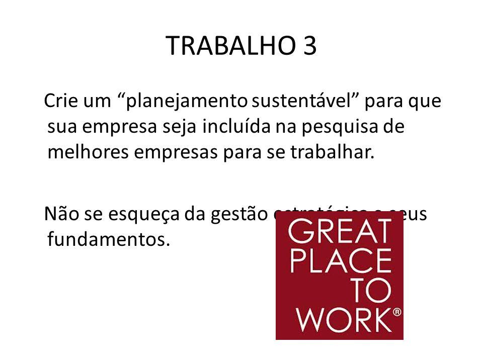 TRABALHO 3 Crie um planejamento sustentável para que sua empresa seja incluída na pesquisa de melhores empresas para se trabalhar. Não se esqueça da g
