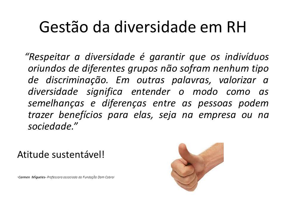 Gestão da diversidade em RH Respeitar a diversidade é garantir que os indivíduos oriundos de diferentes grupos não sofram nenhum tipo de discriminação.