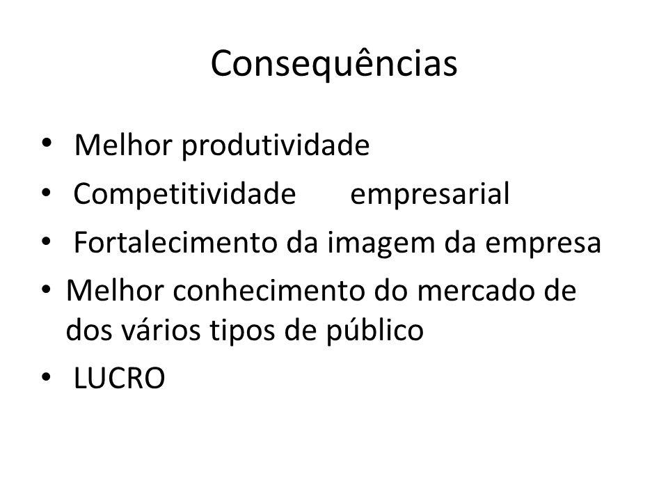 Consequências Melhor produtividade Competitividade empresarial Fortalecimento da imagem da empresa Melhor conhecimento do mercado de dos vários tipos de público LUCRO