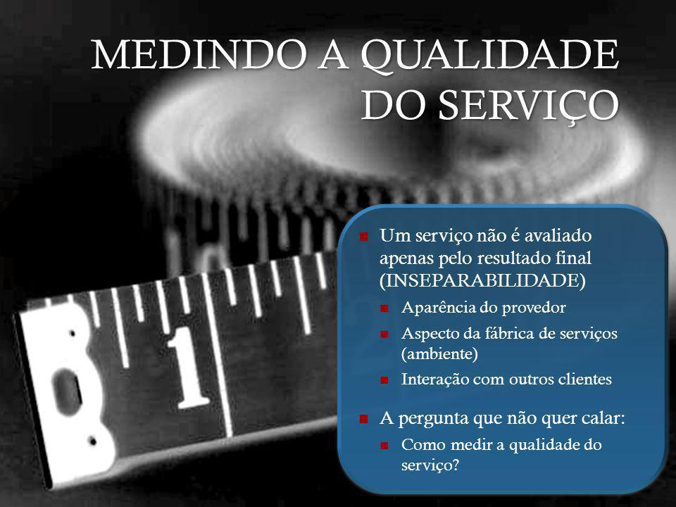 MEDINDO A QUALIDADE DO SERVIÇO Um serviço não é avaliado apenas pelo resultado final (INSEPARABILIDADE) Aparência do provedor Aspecto da fábrica de se