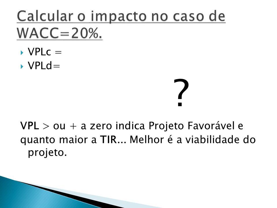 VPLc = VPLd= ? VPL > ou + a zero indica Projeto Favorável e quanto maior a TIR... Melhor é a viabilidade do projeto.