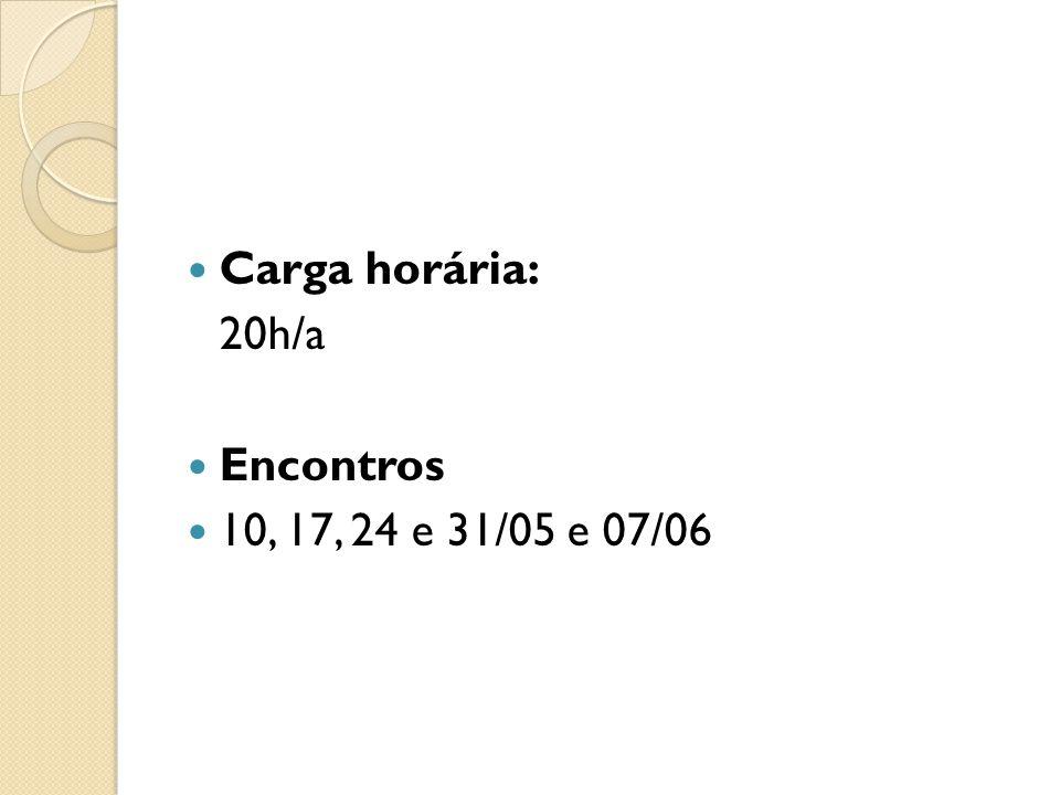 Carga horária: 20h/a Encontros 10, 17, 24 e 31/05 e 07/06