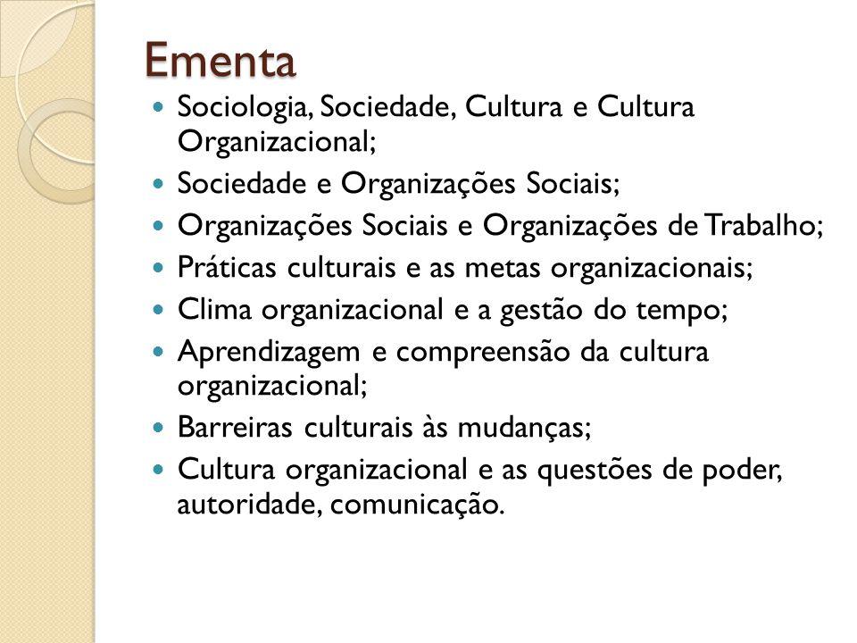 Objetivos Apresentar uma visão geral do significado de cultura organizacional; Compreender o conceito de cultura para a sociedade global e local; Estabelecer vínculos entre cultura, indivíduo e organização; Transmitir ao aluno perspectivas de avaliação da cultura no contexto das organizacionais; Identificar elementos da cultura organizacional e o impacto dos mesmos em processos e estruturas administrativas; Abordar o papel desempenhado pelos indivíduos na formação e manutenção da cultura organizacional; Contextualizar fenômenos de poder e mudança na cultura organizacional.