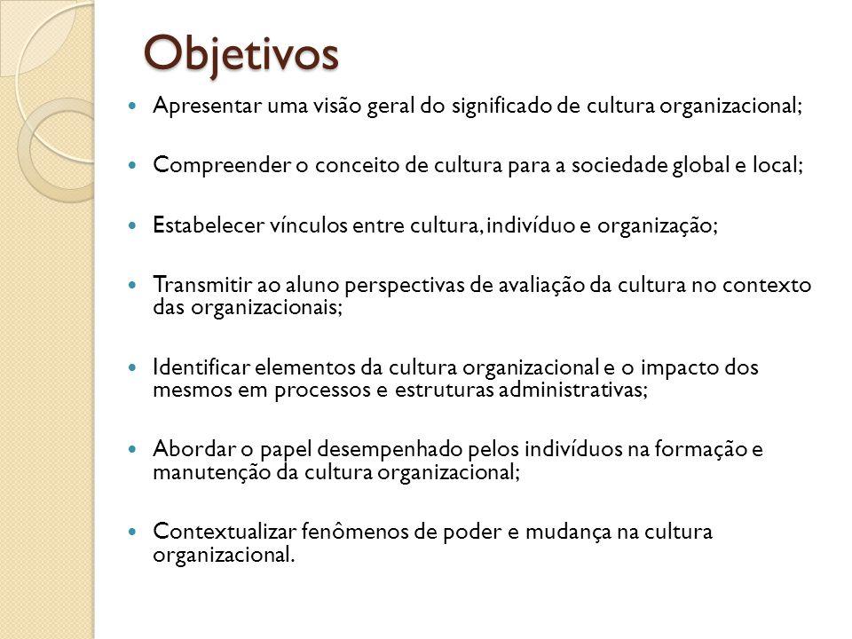 Objetivos Apresentar uma visão geral do significado de cultura organizacional; Compreender o conceito de cultura para a sociedade global e local; Esta