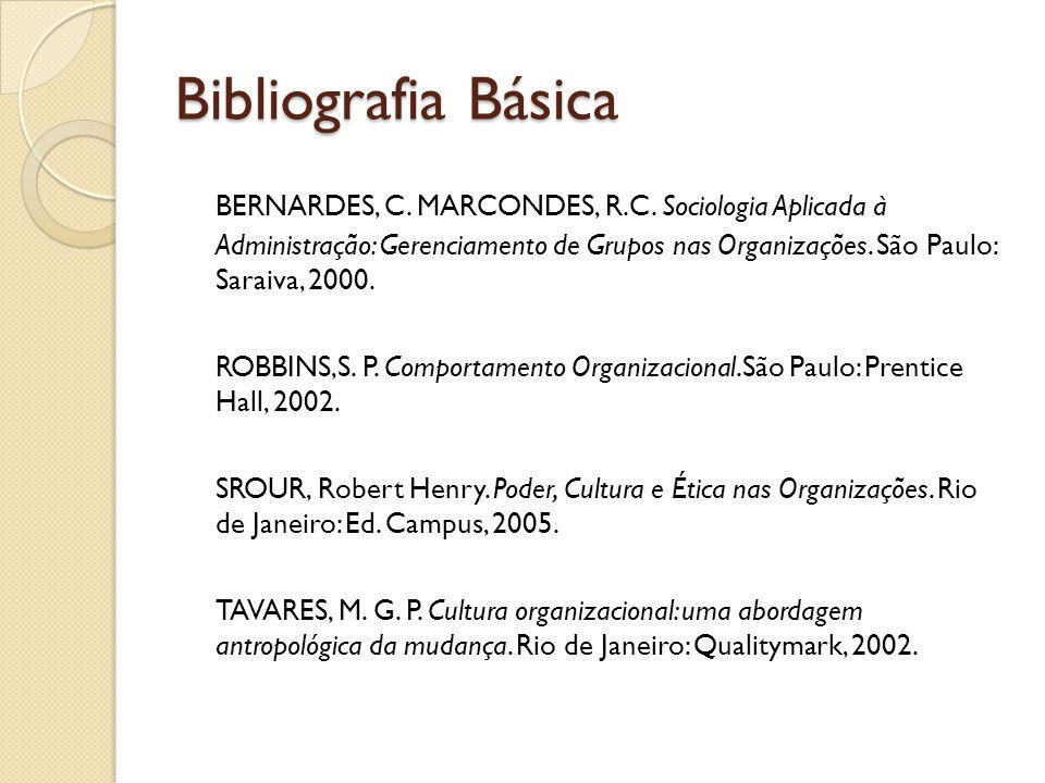 Bibliografia Básica BERNARDES, C. MARCONDES, R.C. Sociologia Aplicada à Administração: Gerenciamento de Grupos nas Organizações. São Paulo: Saraiva, 2